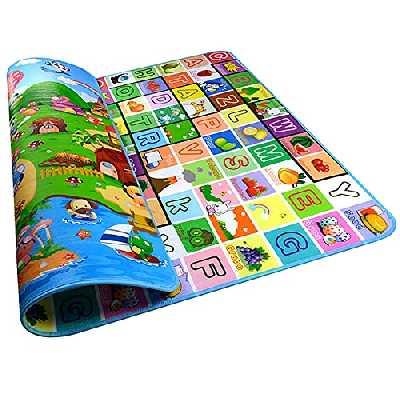 Tapis de Jeux Enfant, 200x180cm Pliable 2 Côtés, Tapis en mousse antidérapant imperméable Appliquer à l'intérieur et l'extérieur Non toxique,Tapis de jeu pour Bébé Enfant Tapis